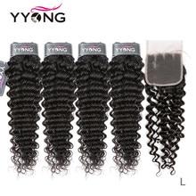 Yyong włosów 3/4 brazylijski głęboka fala wiązki z zamknięciem 100% Remy ludzkie włosy splot wiązki z 4x4 zamknięcie koronki może być barwione