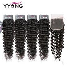 Yyong cabelo 3/4 pacotes de onda profunda brasileira com fechamento 100% remy cabelo humano tecer pacotes com 4x4 fechamento do laço pode ser tingido