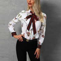 Chaîne imprimé col noué femmes chemise élégante Blouse bureau dame décontracté vêtements de travail Blouse hauts mode femme à manches longues chemises