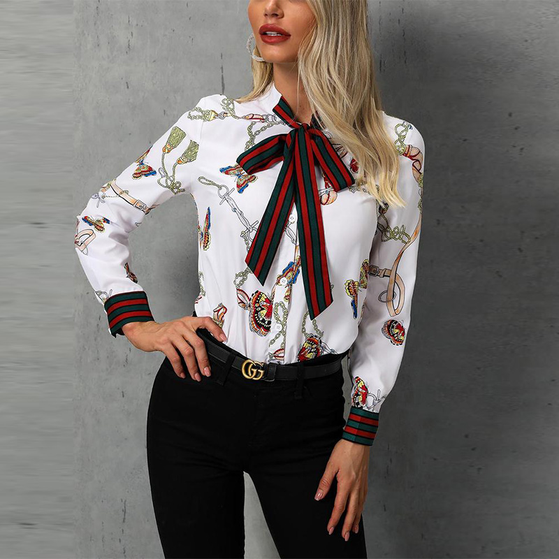 Chain Print Tied Neck Women Elegant   Shirt     Blouse   Office Lady Casual Workwear   Blouse   Tops Fashion Female Long Sleeve   Shirts