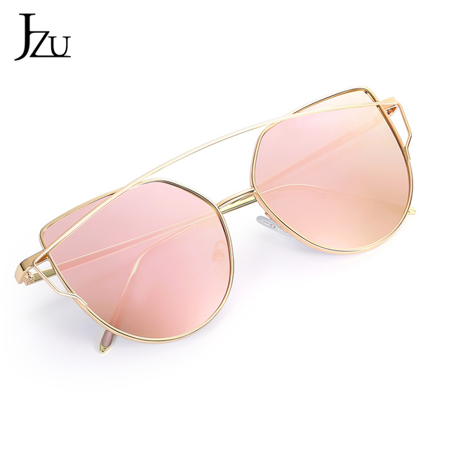 JZU Cat eye Brand Sunglasses Women Designer Mirror Flat Rose Gold Vintage Metal Reflective sunglasses women female Oculos Gafas 8