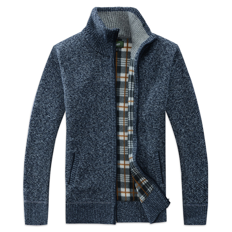 Men's Sweater Cardigan With Thick Sweater Jacket Knitted Vertical Collar Youth Leisure Sweater