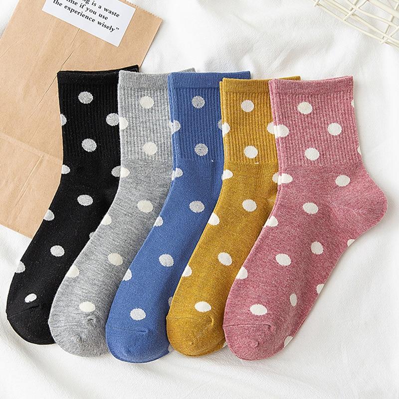 Warm Women's Cute Dot Print Socks Beautiful Female Cotton Middle Tube Loose Retro Casual Polka Dot Socks Japanese Kawaii Socks