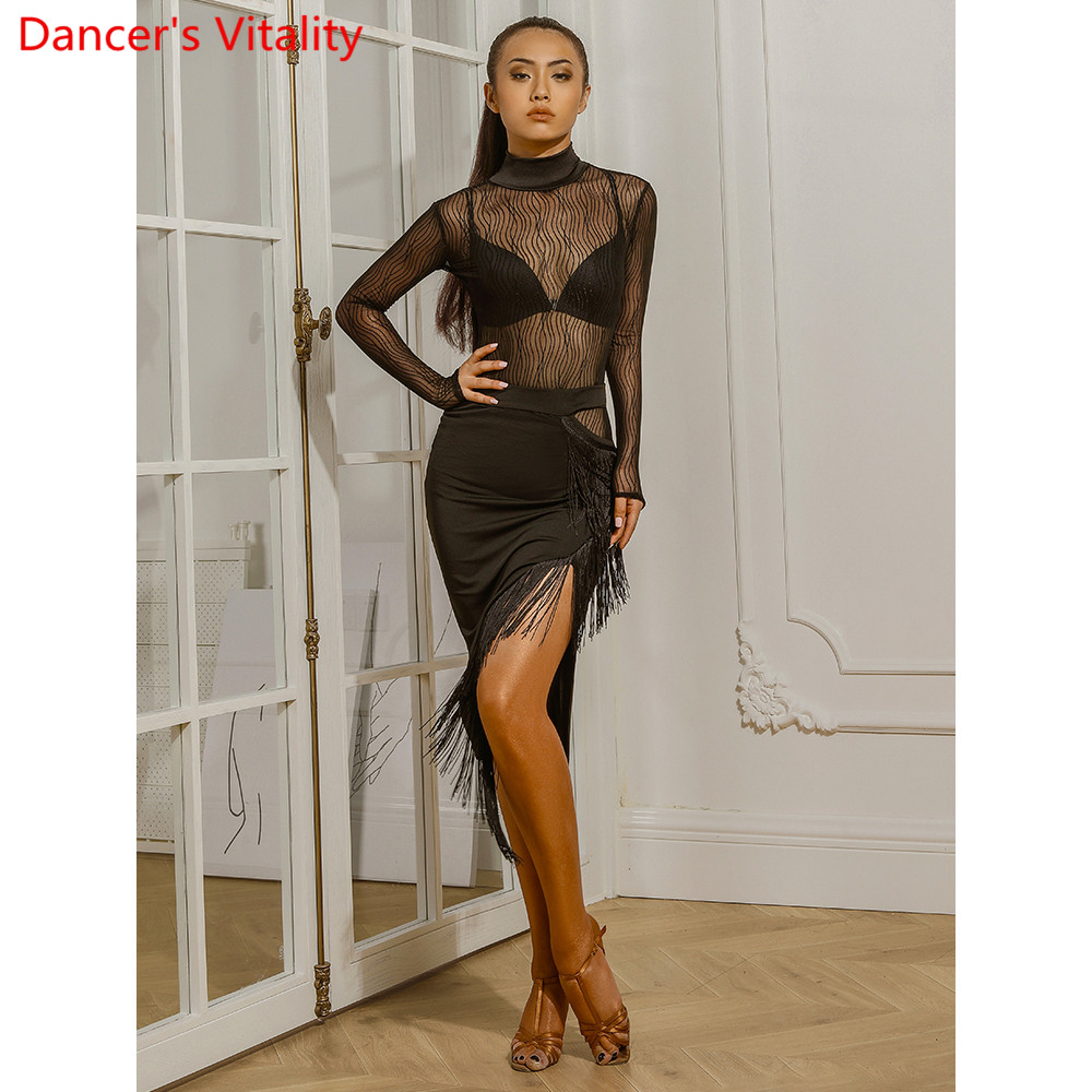 Latin Dance Women Adults Slim Fit Black Tassel Skirt Rumba Cha Cha Salsa Quickstep Dancing Group Performance Practice Stage Suit