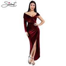 OLLYMURS Autumn Winter Slit Burgundy Red Shoulder Asymmetric Sleeve Dress Slit Split Evening Gown  Formal Dresses Evening Gown