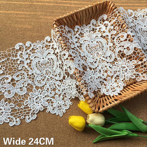 24CM Wide White Water Soluble Hollow Embroidered Lace Fabirc Fringe Ribbon DIY Clothing Scarf Sewing Accessories Skirt Material