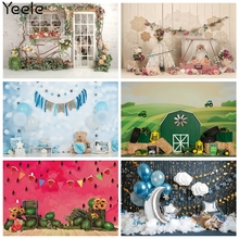 Yeele Birthday Backdrop Photocall Flower Balloon Glitters Baby Shower Photography Prop Photographic Background For Photo Studio