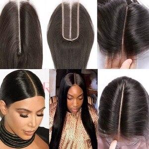 Image 2 - 2X6 סגירת שיער טבעי סגירת 2x6 4x4 13x4 חזיתי תחרה סגירת ישר רמי אור חום תחרה ברזילאית אמצע חלק סגירה