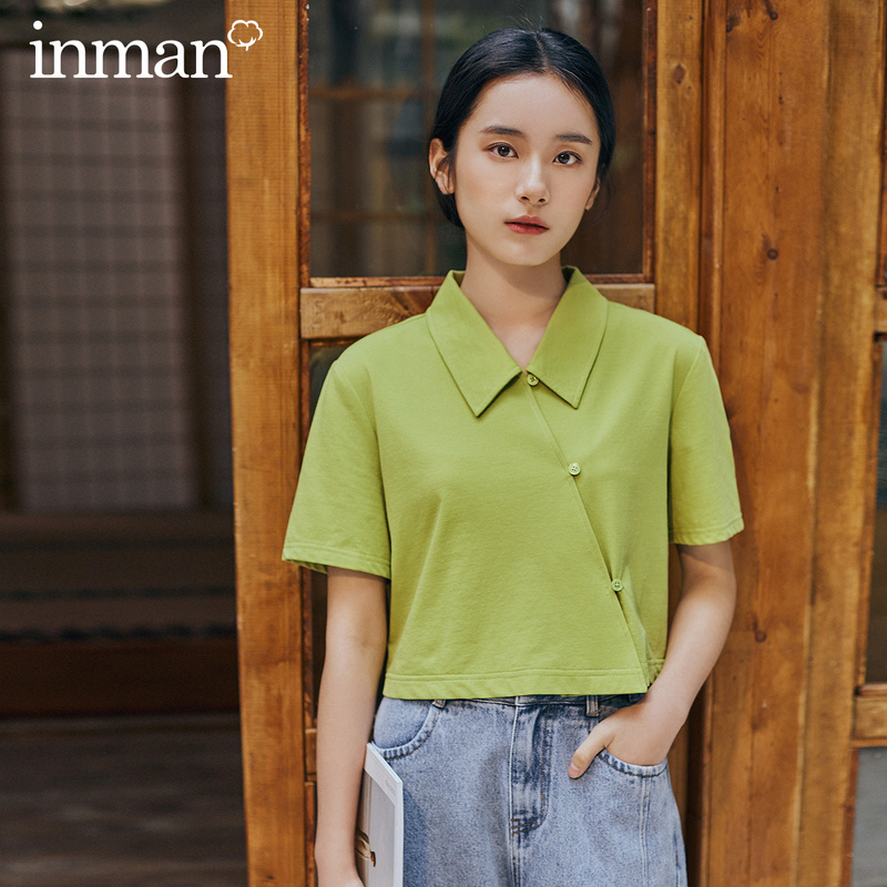 INMAN 2028 Spring New Arrival Literary Dimple Series Personality Lapel Close-fitting Pure Color Short Sleeve T-shirt