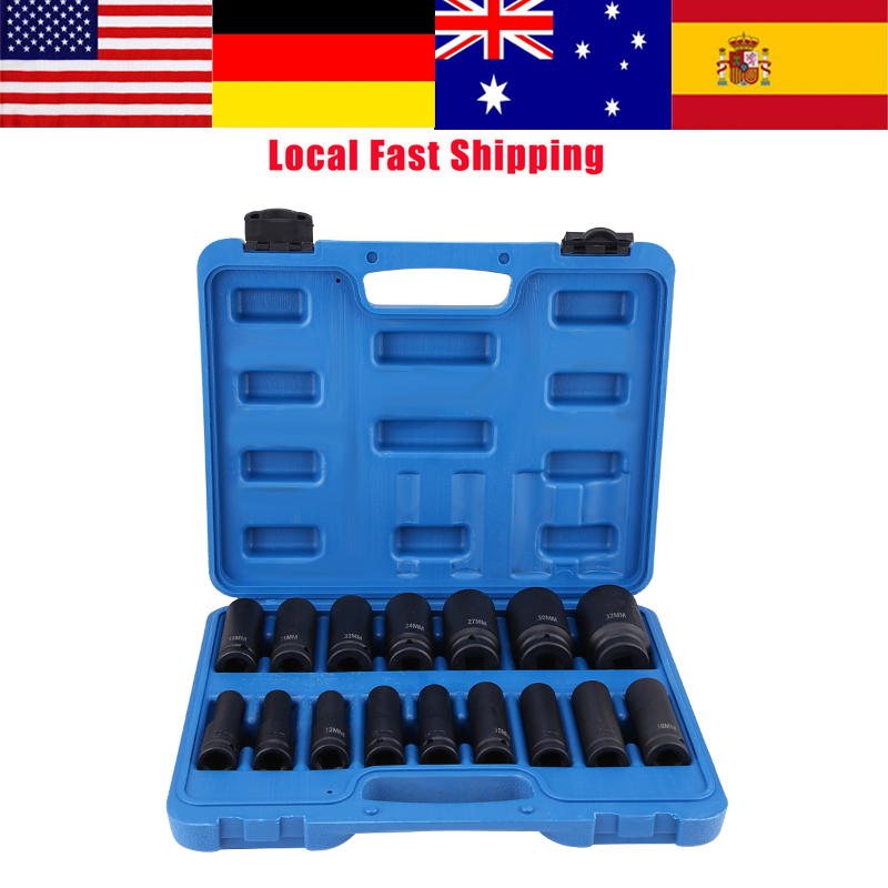 16Pcs 10 32mm 1/2in Drive Air Hex Bit Socket Set Car Repair Tool Kit Ratchet Wrench Adapter Converter Reducer Air Impact Socket|Sockets| - AliExpress