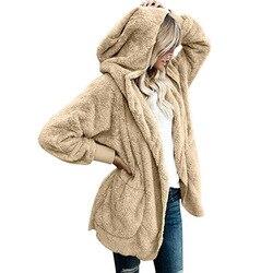 Suéter de lana de invierno 2019 jerseys de lana con capucha de gran tamaño cárdigan largo de peluche mullido otoño ropa caliente de invierno suéteres femeninos