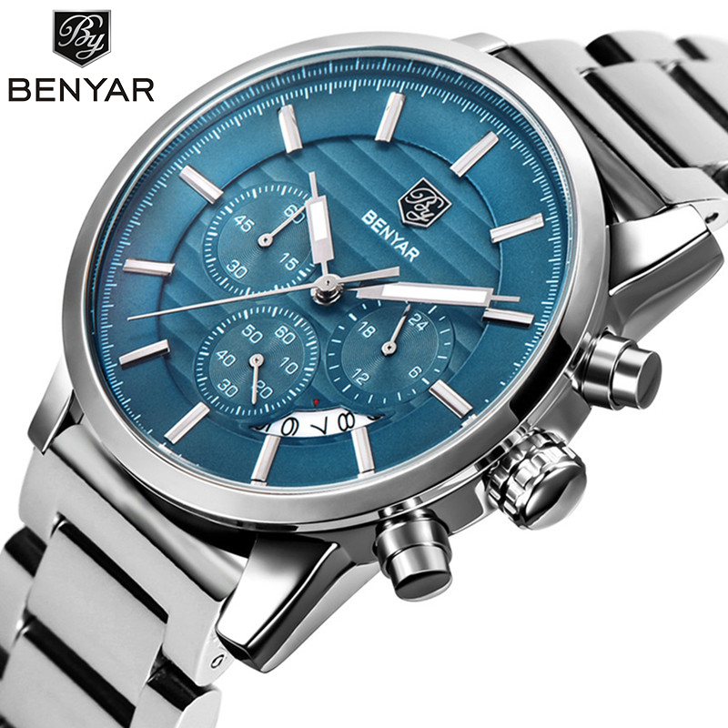 <font><b>BENYAR</b></font> Men Watches Top Brand Luxury Blue Military Quartz Male Wristwatch Clock Stainless Steel Waterterproof Relogio Masculino image