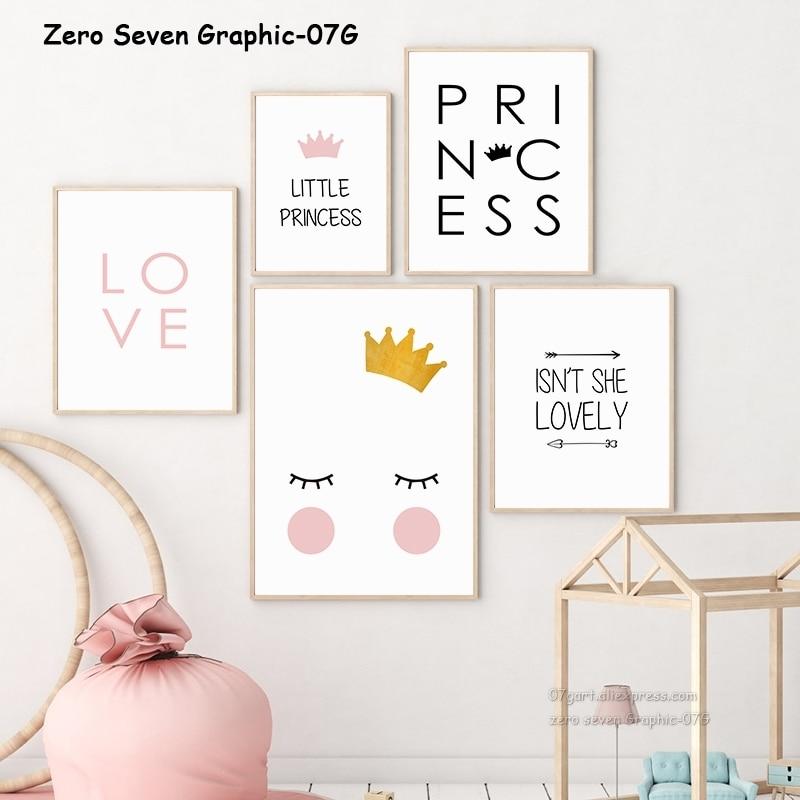 Nette Nordic Cartoon Crown Mädchen Begriff A3 Leinwand Malerei Poster Und Drucke Baby Mädchen Zimmer Wand Kunst Bilder Kindergarten Home decor