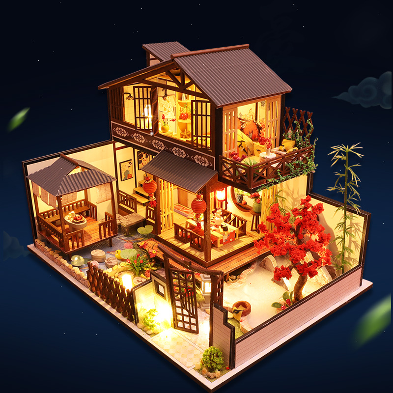 CUTEBEE Diy Dollhouse Miniature With Furniture Wooden Miniaturas Doll House Puzzle Toys For Children Christmas Gifts P2