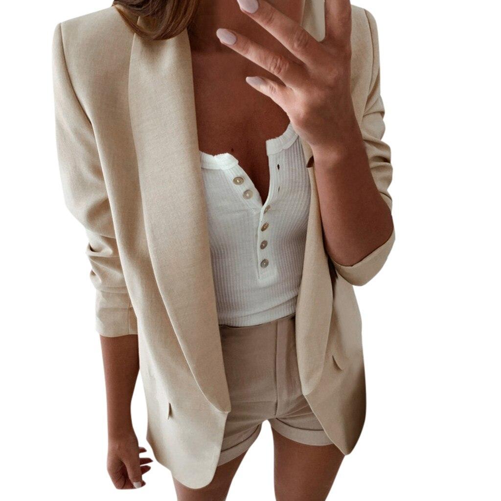blazer feminino blazer women blazer mujer marynarka damska blazer femme blaser feminino plus Long Sleeve CasualLadies Office Z4
