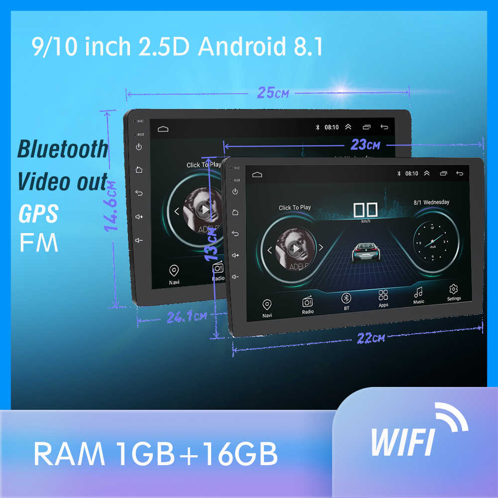 9/10 Inch Android Touch Screen 2Din Auto Radio Gps Multimedia Autoradio Navigatie Wifi Bluetooth 2Din Android Auto Radio