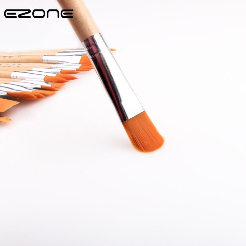 EZONE 6PCS/Set Oil Painting Brush Acrylic Oil Brush Flat Brush/Round Brush/Hook Line Brush/Slant Brush Art Painting Supplies