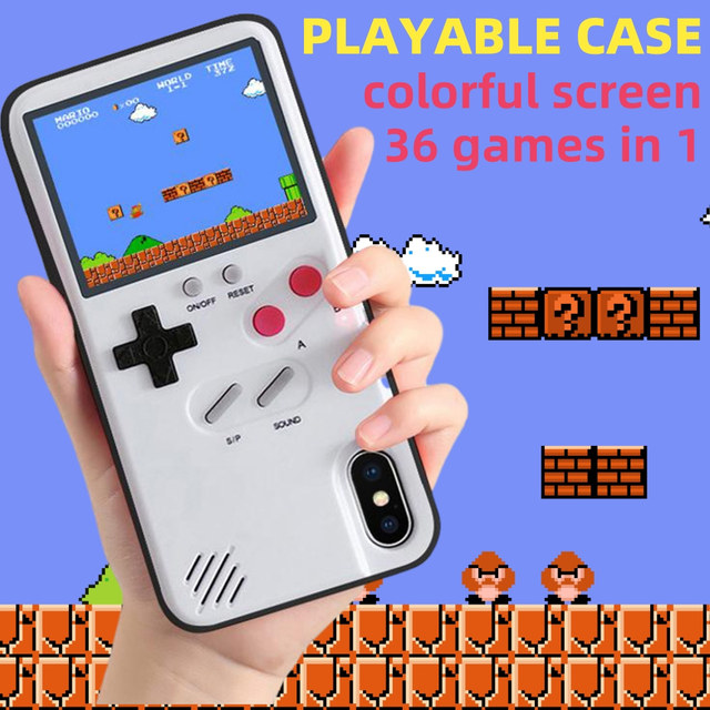 for iPhone 11 Game Phone Case With Game Boy Cover for iPhone 11 Pro 6 6s 7 8 Plus X XR XS Max Case Retro Tetris Gameboy Console