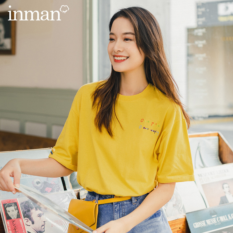 INMAN 2020 Summer New Arrival Rainbow Color Embroidered Loose Casual Pupil Lazy Dropped Shoulder BF Style Short Sleeve T-shirt