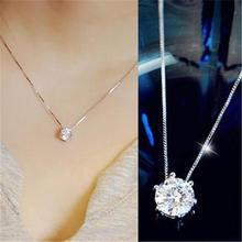 FDLK Women Fashion Simple Rhinestone Choker Necklace Shine Rhinestone Silver Color Chain Jewelry