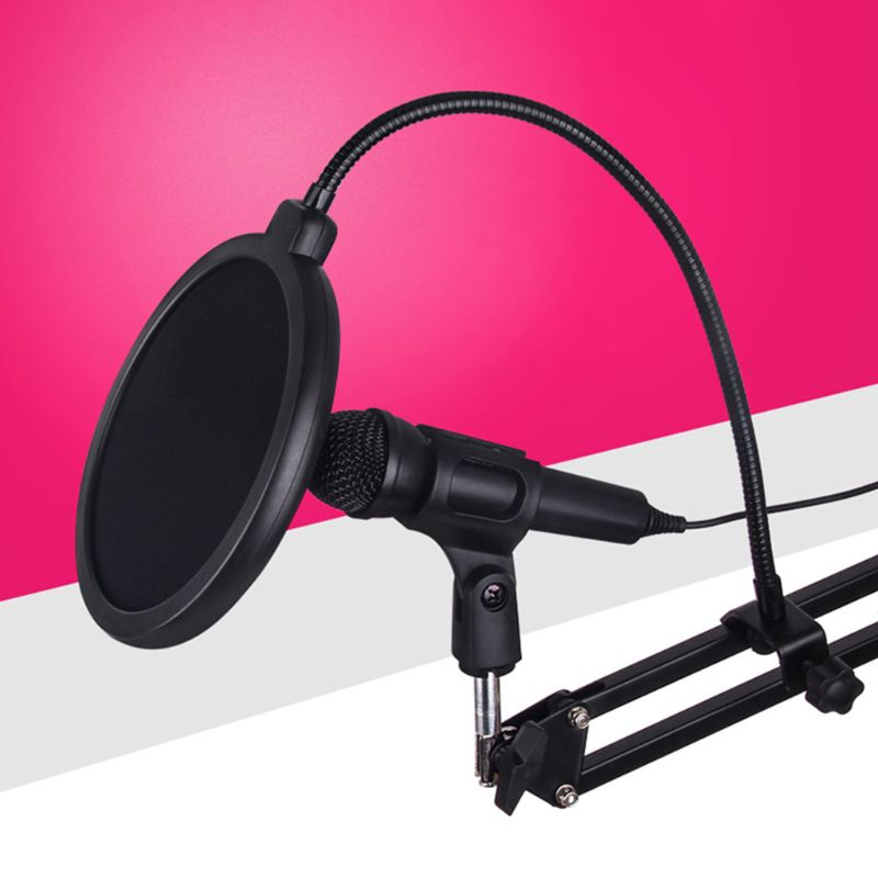 Anti Spray Cover Recording Studio Microphone Pop Filter Mic Wind Screen Double Layer Mask Shield