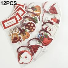 12Pcs Stamping Glittering Hanging Pendant Christmas Tree Decorations For Home Decor Paper Gift Ornaments