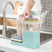 Hanger Sponge-Holder Pumps-Dispenser-Container Soap Kitchen 3-In-1 Towel Drain-Organizer
