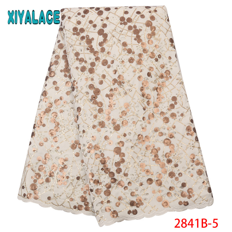 Latest Nigerian French Tulle Lace Fabric African Velvet Lace Fabric High Quality Sequins Laces Fabricsfor Women KS2841B-5