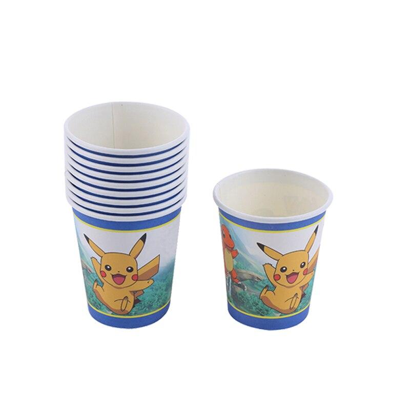 Купить с кэшбэком 20pcs/lot Cartoon Pokemon Disposable Paper Cup Birthday Party Decorations Kids Pikachu Cup Party Supplies Baby Shower Boy Favor