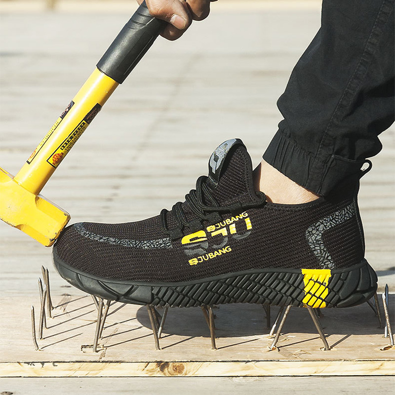 New Exhibition Men Work Safety Shoes  Fashion Outdoor Steel Toe Cap Anti-smashing Puncture Proof Construction Sneakers Boots