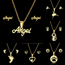 2019 New Jewelry Gift Fashion Dancing Girl Heart Cat Paw Angel Stainless Steel Pendant Necklace Earrings for Women Jewelry Sets newest stainless steel fashion heart jewelry 2 colors necklace and earrings sets for women sbjjgbed