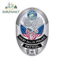 EARLFAMILY-pegatinas de hierro para casco de West Allis Patrulla de policía, calcomanía elegante e impermeable para parabrisas de motocicleta, 13cm x 8,9 cm