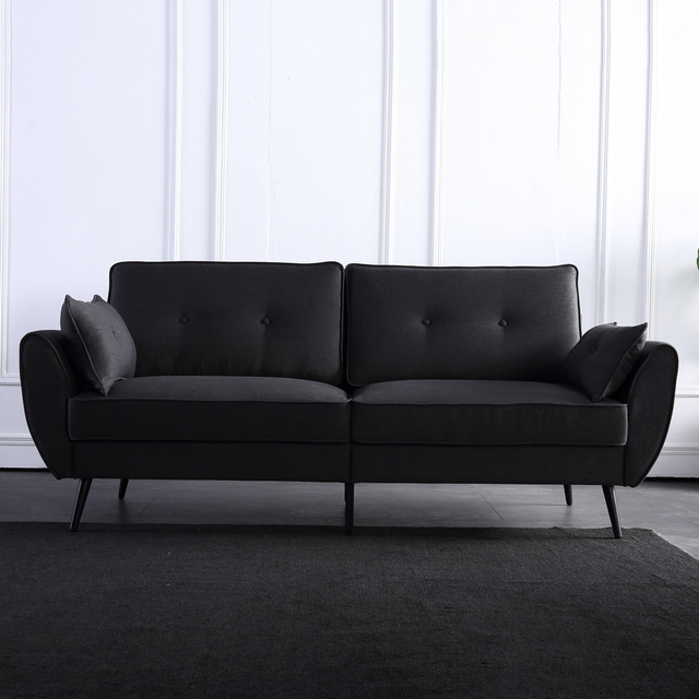 Linen Fabric Sofa Simple and Stylish Solid Wood Frame 3 Seat High Resilience Sponge Gray Indoor Furniture[US-Stock] 5