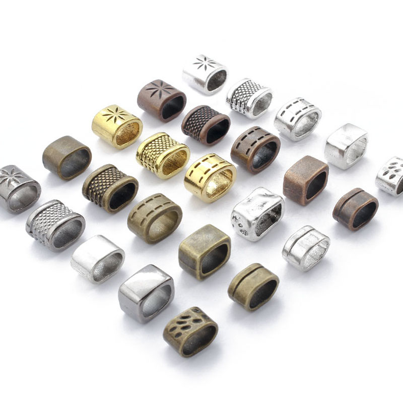 10pcs Spacer Beads Charms Bronze/Copper/Silver Color 10*6mm Licorice Leather Cord Slider Beads For Bracelets Jewelry Making