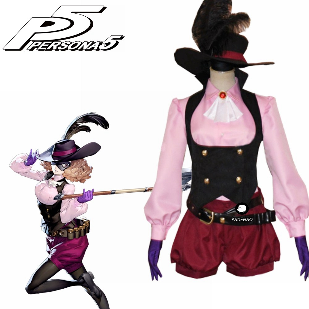 Anime Game Persona 5 Noir Haru Okumura Cosplay Costume Full Set With Hat Free Shipping