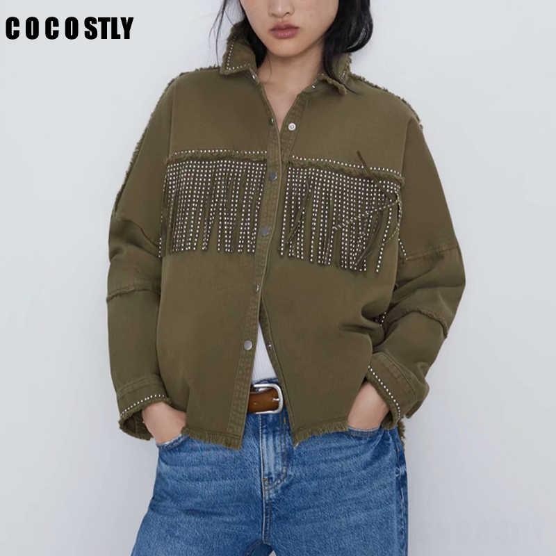 빈티지 세련된 프린지 페르시 루스 데님 자켓 여성 패션 긴 소매 닳은 트림 숙녀 자 자켓 겉옷 chaqueta mujer