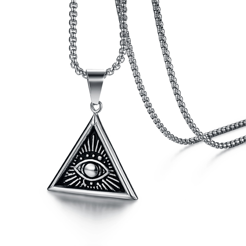 Ожерелье с подвеской в виде пирамиды, из нержавеющей стали