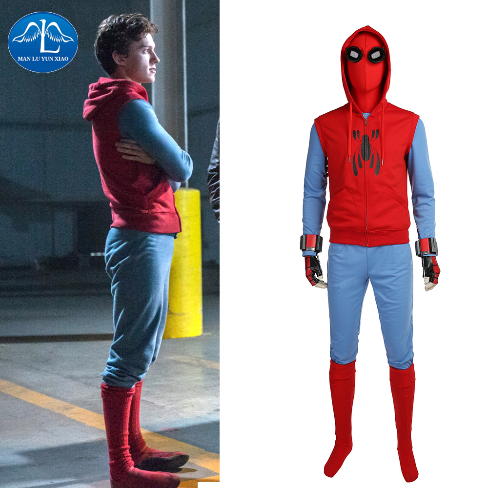 Spiderman Costume Peter Parker Cosplay Hoodie Vest Mask Men Halloween Party Prop