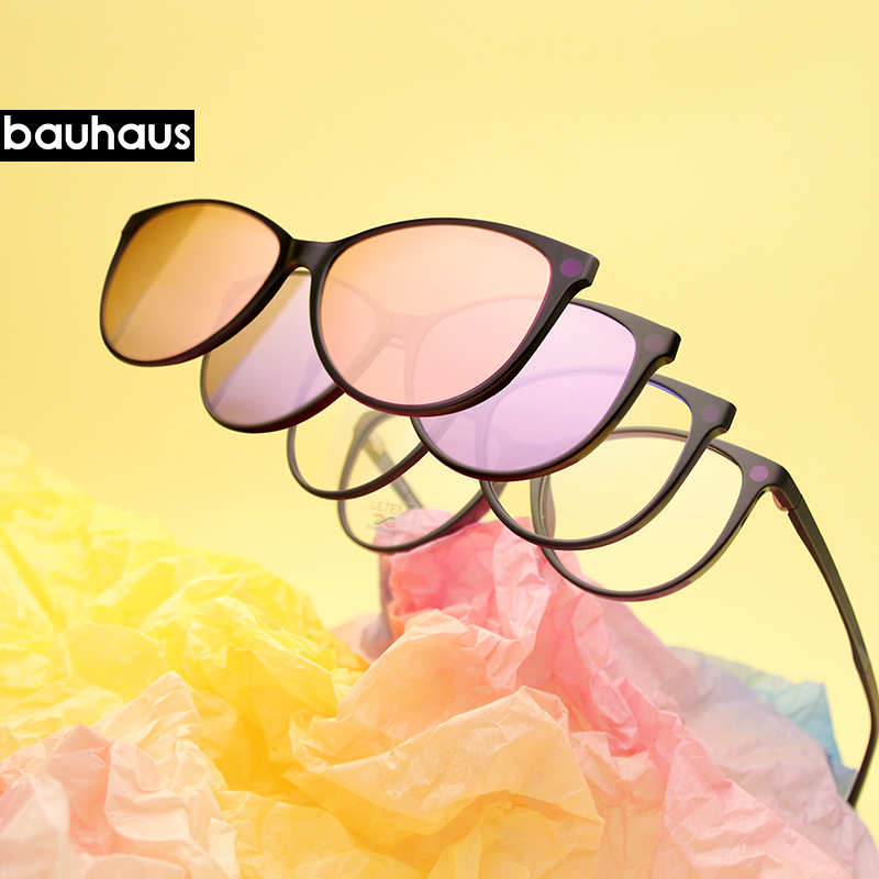 BauhausFashion Papilionaceous Optical Spectacle Frame Women With 4 Clip On Sunglasses Polarized Magnetic Glasses For FemaleU-254