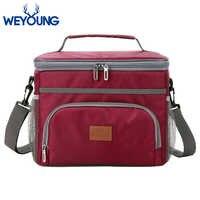 Bolsa de fiambrera con refrigerador térmico aislado azul y rojo de 15 l para pícnic al aire libre, Bolsa térmica para mujer