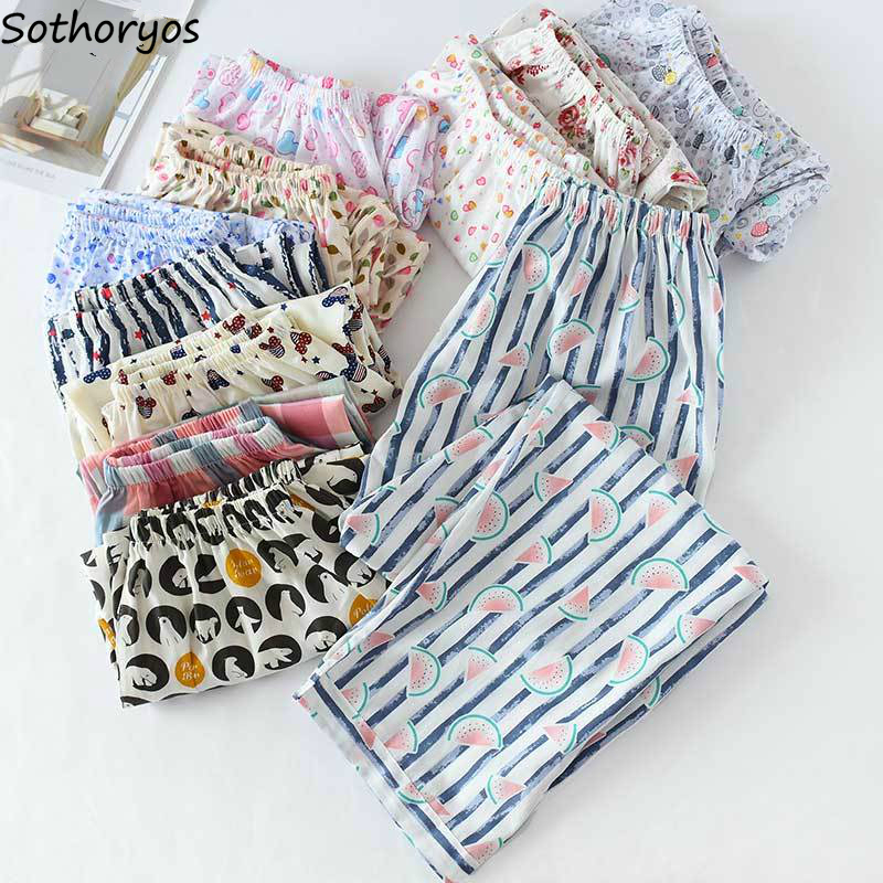 Sleep Bottom Women Printed Spring Summer Plus Size 3XL Breathable Chic Cotton Comfortable Womens Pajama Pants Daily Sleepwear