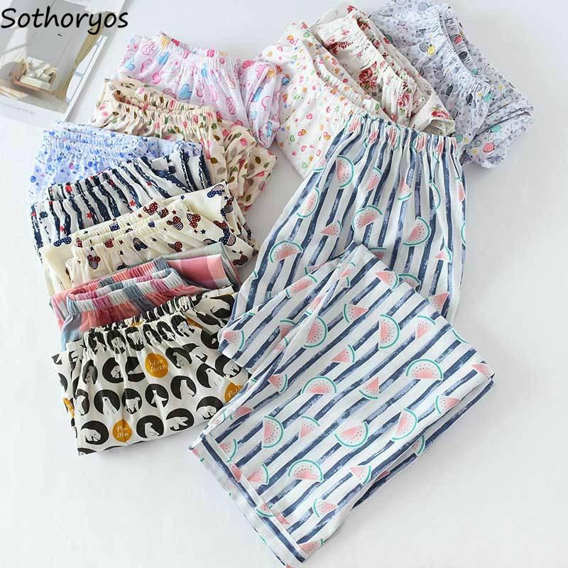 Sleep Bottom Women Printed Spring Summer Plus Size 3XL Breathable Chic Cotton Comfortable Womens Pajama Pants Daily Sleepwear