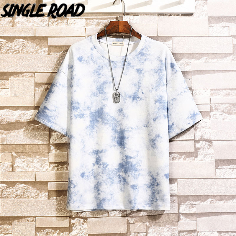 SingleRoad Man's T-shirt Men Oversized Tie Dye Cotton Punk Hip Hop T-Shirts Japanese Streetwear Harajuku Tshirt Male T Shirt Men