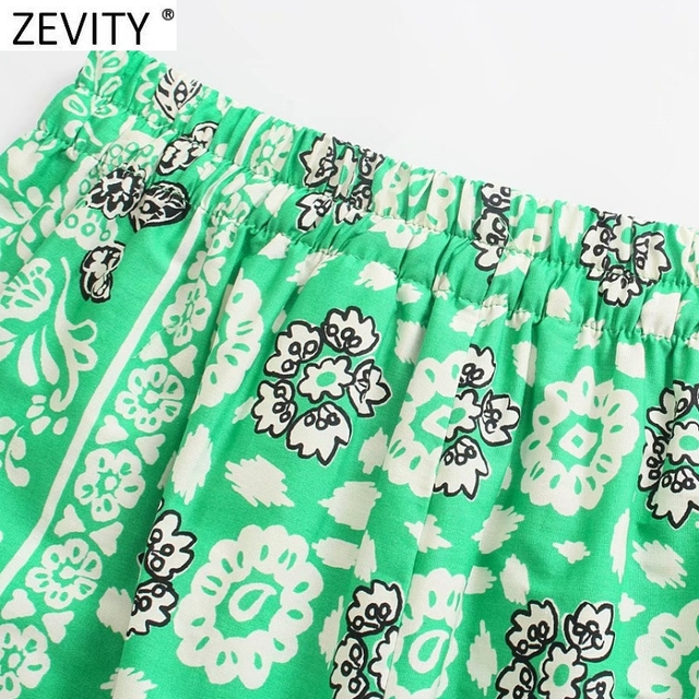 Zevity 2021 Women Vintage Position Flower Print Casual Hot Bermuda Shorts Female Chic Elastic Waist Bow Pantalone Cortos P1140 5