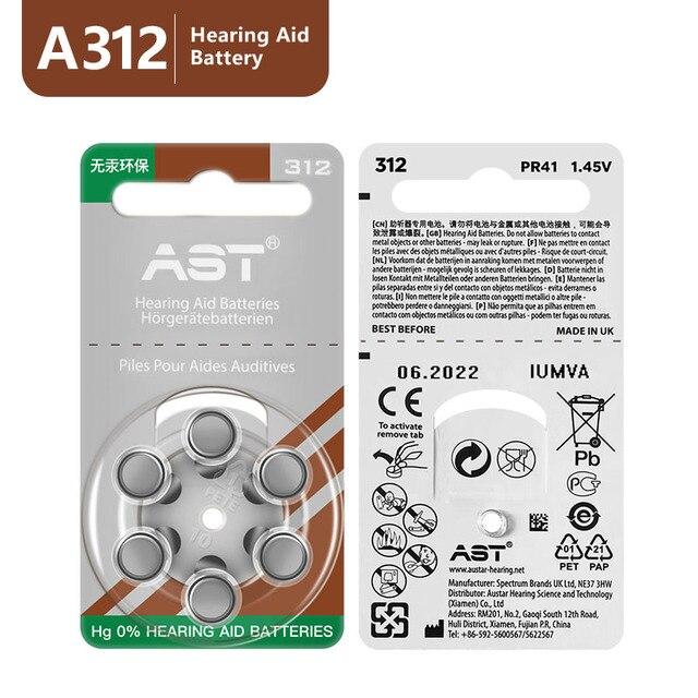 60PCS ASTเครื่องช่วยฟัง 312 A ZA312 PR41 S312 312 แบตเตอรี่สังกะสีสำหรับเครื่องช่วยฟัง