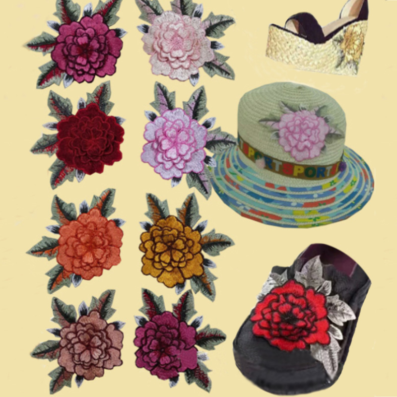 Rose Floral Collar Sew On Patch Embroidered Fabric Sticker Clothes Shoues DIY Fashion Polyester Cloth Patch Accessories
