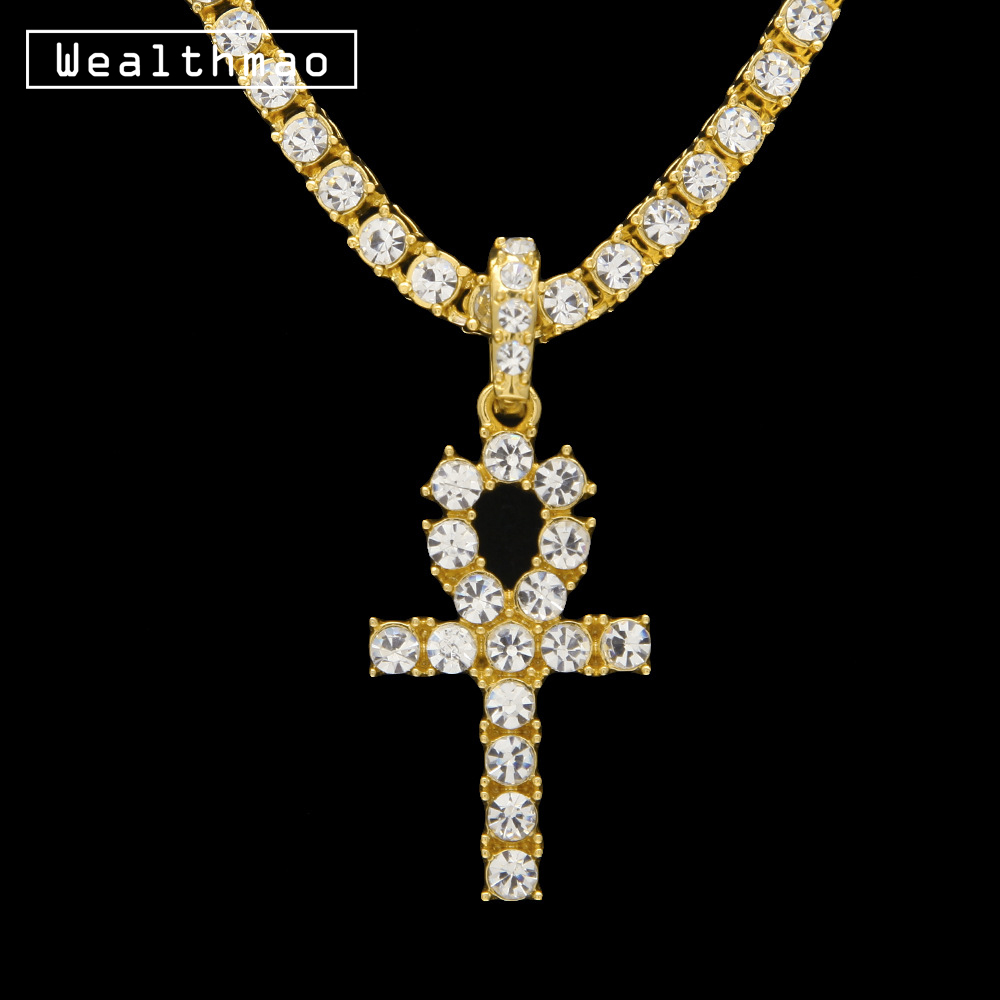 Cross Alloy Pendant For Men Gold//Silver Key of Life Egyptian Charm Necklace Hip Hop Jewelry Bling Iced Out Chain Crystal Ankh