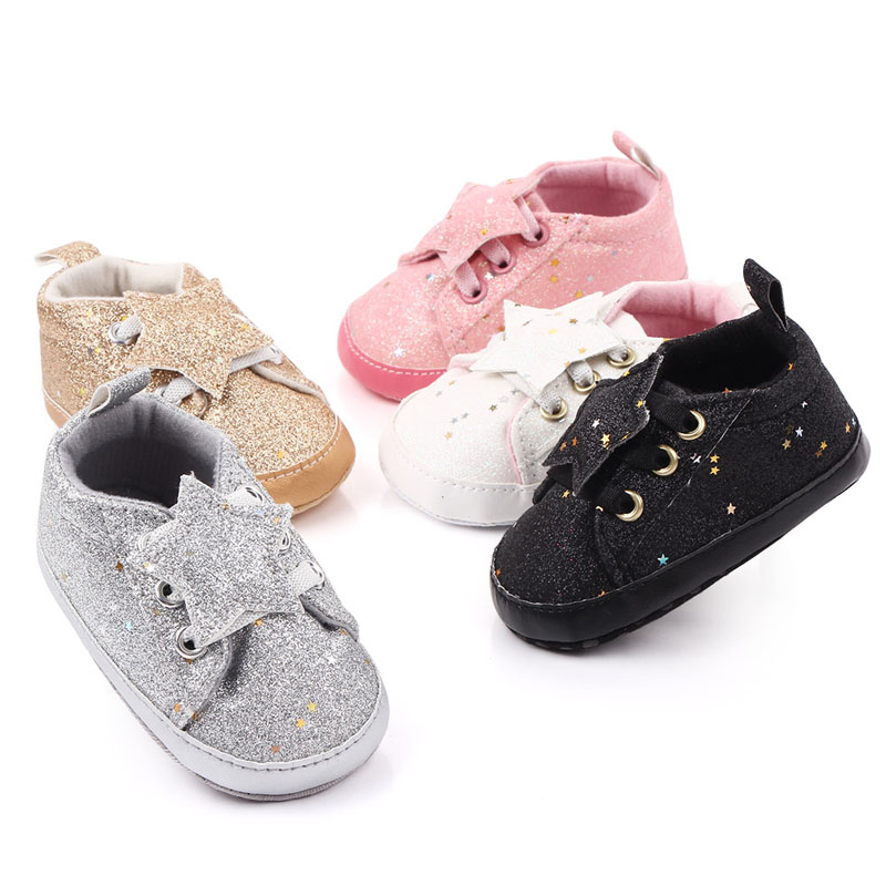 Baby Boys Girls Shoes Breathable Artificial PU Sequins Star Print Shoes Sneakers Toddler Soft Soled Shoe