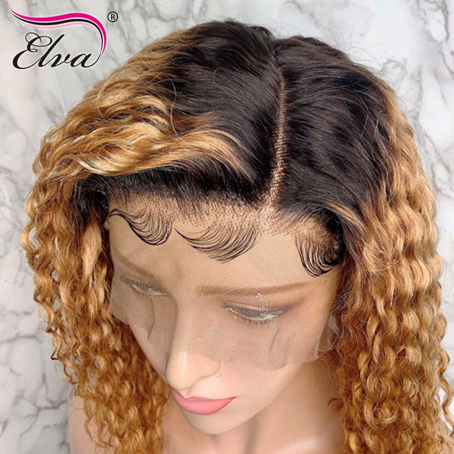 Elva saç 13x6 1B/27 kısa dantel ön İnsan saç peruk kıvırcık dantel ön peruk Ombre Bob peruk siyah kadınlar için ön koparıp Remy saç
