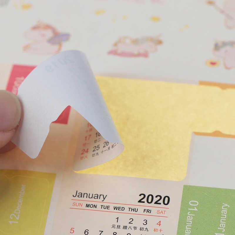 2020 2020 новый мультфильм цветные календари стикеры клейкие ленты без рисунка украшение для альбома планировщик, подельные стикеры тетрадь Канцелярские Принадлежности
